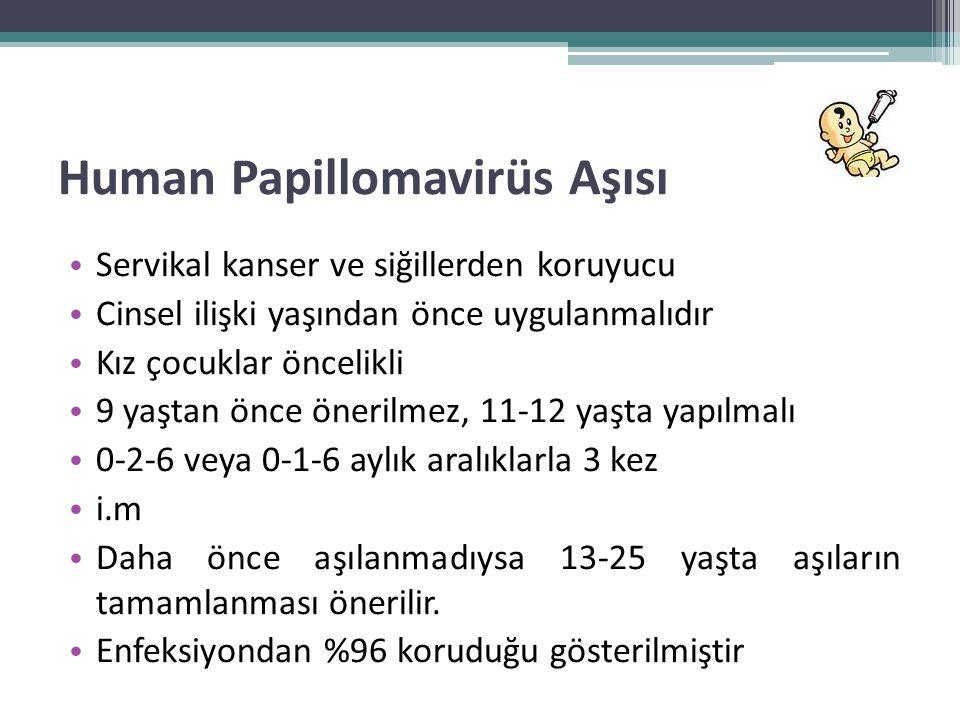 Human Papillomavirüs Aşısı • Servikal kanser ve siğillerden koruyucu • Cinsel ilişki yaşından önce uygulanmalıdır • Kız çocuklar öncelikli • 9 yaştan