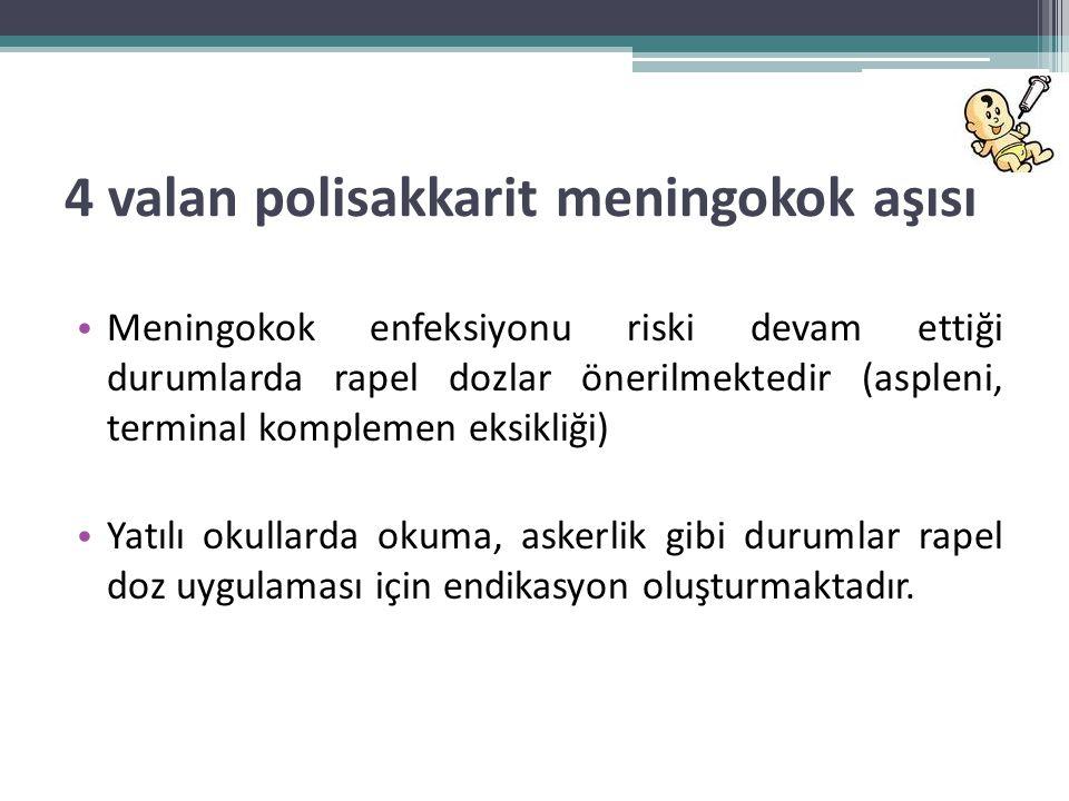 4 valan polisakkarit meningokok aşısı • Meningokok enfeksiyonu riski devam ettiği durumlarda rapel dozlar önerilmektedir (aspleni, terminal komplemen