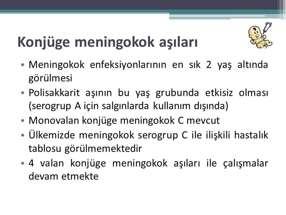 Konjüge meningokok aşıları • Meningokok enfeksiyonlarının en sık 2 yaş altında görülmesi • Polisakkarit aşının bu yaş grubunda etkisiz olması (serogru