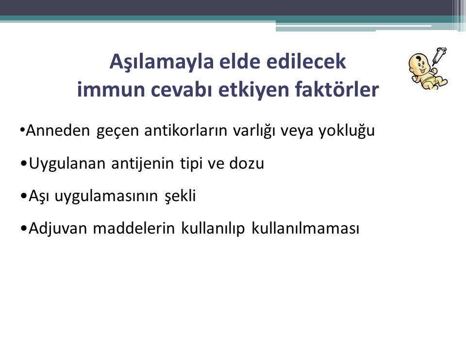 Aşılamayla elde edilecek immun cevabı etkiyen faktörler • Anneden geçen antikorların varlığı veya yokluğu •Uygulanan antijenin tipi ve dozu •Aşı uygul