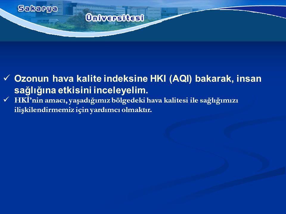  Ozonun hava kalite indeksine HKI (AQI) bakarak, insan sağlığına etkisini inceleyelim.