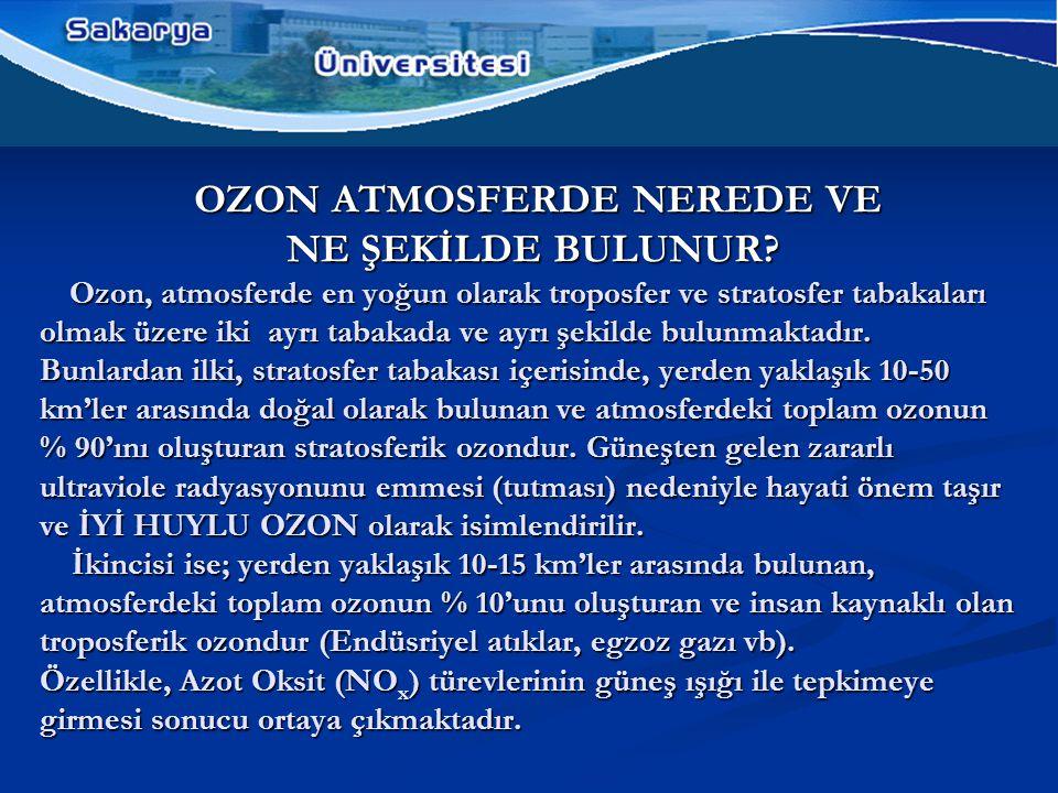 OZON ATMOSFERDE NEREDE VE NE ŞEKİLDE BULUNUR.