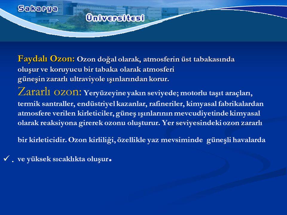 Faydalı Ozon: Ozon doğal olarak, atmosferin üst tabakasında oluşur ve koruyucu bir tabaka olarak atmosferi güneşin zararlı ultraviyole ışınlarından korur.