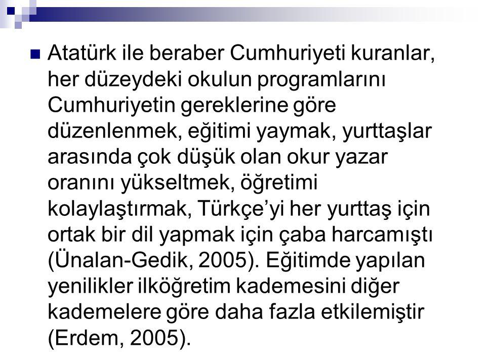  Atatürk ile beraber Cumhuriyeti kuranlar, her düzeydeki okulun programlarını Cumhuriyetin gereklerine göre düzenlenmek, eğitimi yaymak, yurttaşlar a