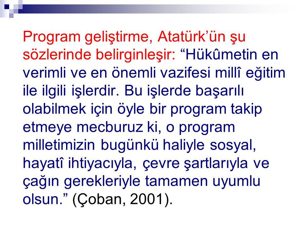 """Program geliştirme, Atatürk'ün şu sözlerinde belirginleşir: """"Hükûmetin en verimli ve en önemli vazifesi millî eğitim ile ilgili işlerdir. Bu işlerde b"""