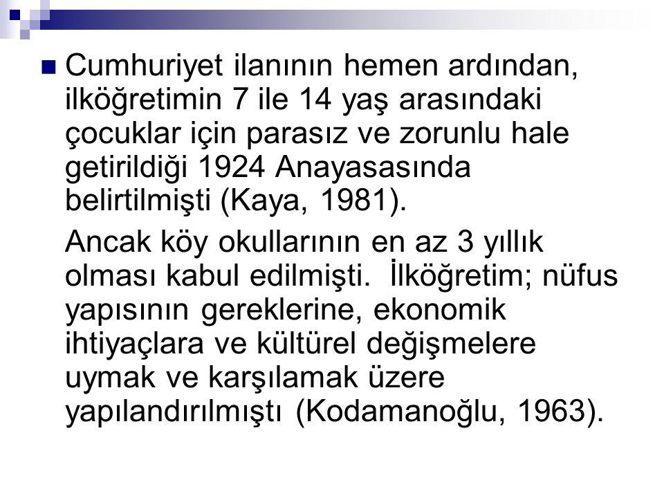  Cumhuriyet ilanının hemen ardından, ilköğretimin 7 ile 14 yaş arasındaki çocuklar için parasız ve zorunlu hale getirildiği 1924 Anayasasında belirti