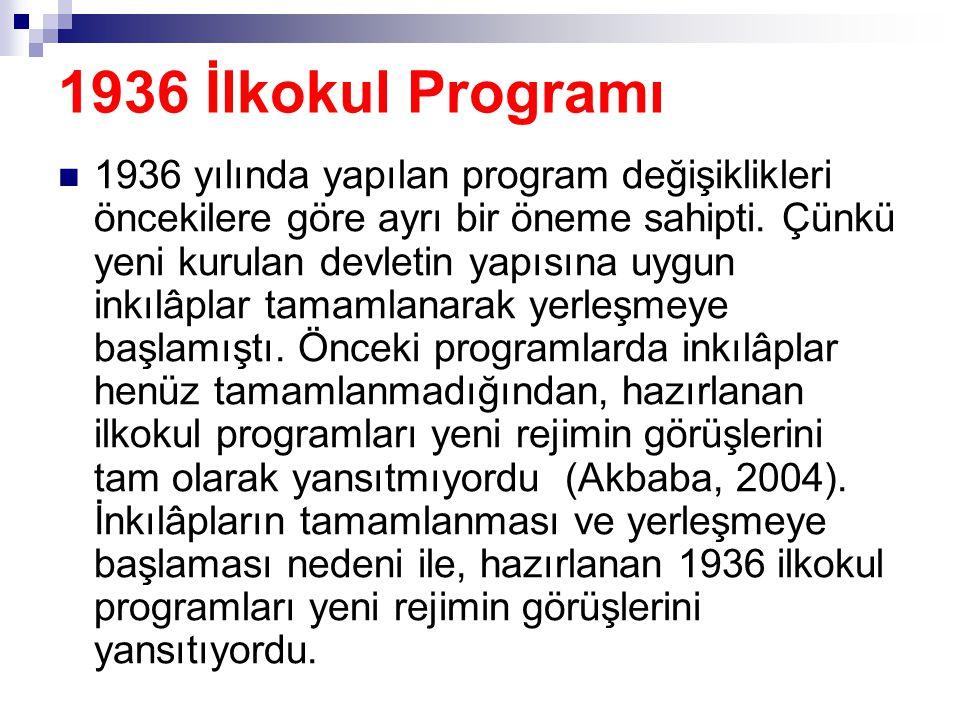 1936 İlkokul Programı  1936 yılında yapılan program değişiklikleri öncekilere göre ayrı bir öneme sahipti. Çünkü yeni kurulan devletin yapısına uygun