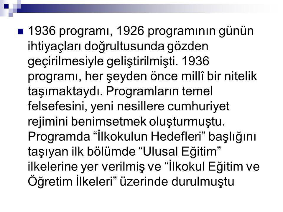  1936 programı, 1926 programının günün ihtiyaçları doğrultusunda gözden geçirilmesiyle geliştirilmişti. 1936 programı, her şeyden önce millî bir nite