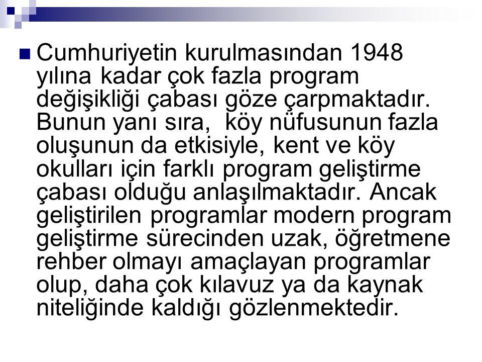  Cumhuriyetin kurulmasından 1948 yılına kadar çok fazla program değişikliği çabası göze çarpmaktadır. Bunun yanı sıra, köy nüfusunun fazla oluşunun d