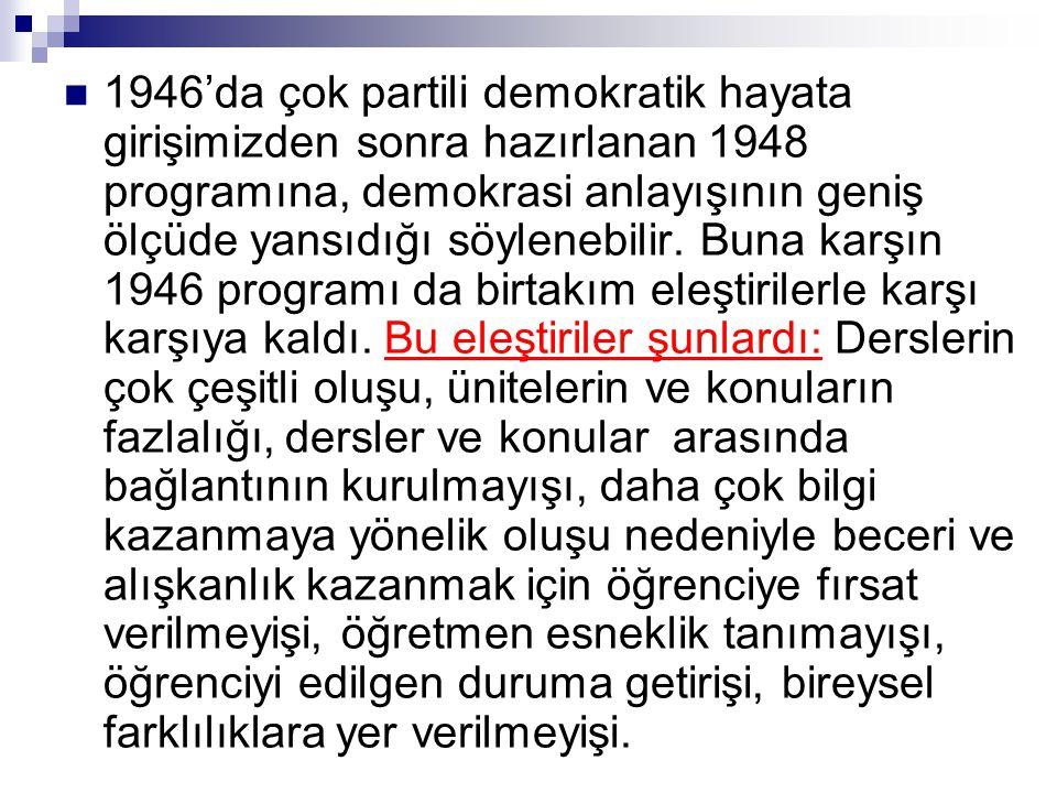  1946'da çok partili demokratik hayata girişimizden sonra hazırlanan 1948 programına, demokrasi anlayışının geniş ölçüde yansıdığı söylenebilir. Buna