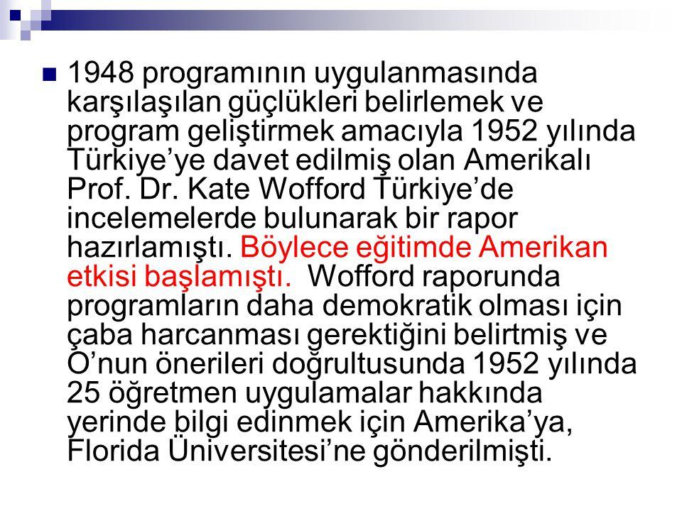  1948 programının uygulanmasında karşılaşılan güçlükleri belirlemek ve program geliştirmek amacıyla 1952 yılında Türkiye'ye davet edilmiş olan Amerik