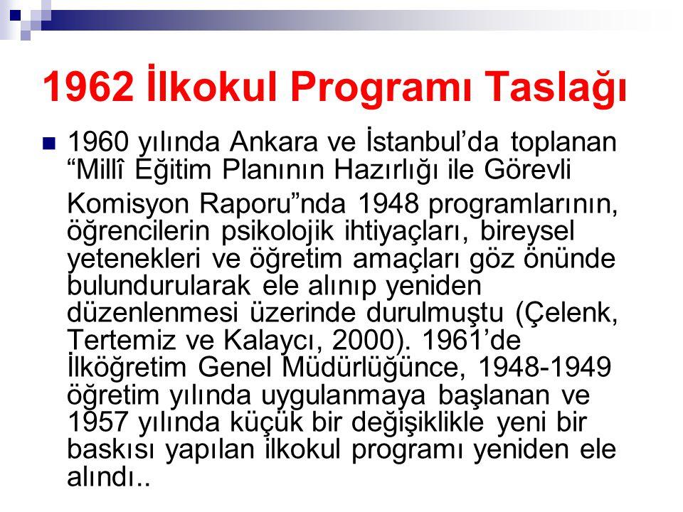 """1962 İlkokul Programı Taslağı  1960 yılında Ankara ve İstanbul'da toplanan """"Millî Eğitim Planının Hazırlığı ile Görevli Komisyon Raporu""""nda 1948 prog"""