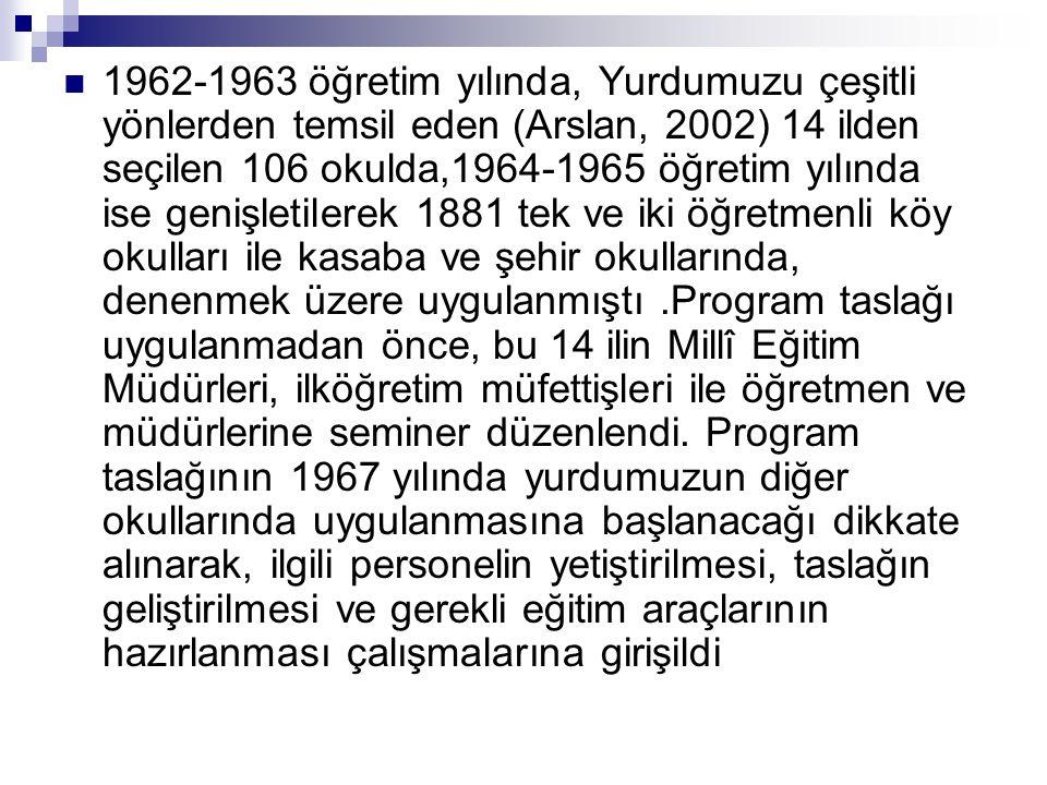  1962-1963 öğretim yılında, Yurdumuzu çeşitli yönlerden temsil eden (Arslan, 2002) 14 ilden seçilen 106 okulda,1964-1965 öğretim yılında ise genişlet