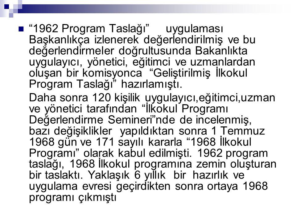 """ """"1962 Program Taslağı""""uygulaması Başkanlıkça izlenerek değerlendirilmiş ve bu değerlendirmeler doğrultusunda Bakanlıkta uygulayıcı, yönetici, eğitim"""