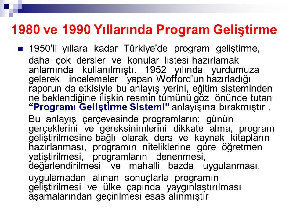  1950'li yıllara kadar Türkiye'de program geliştirme, daha çok dersler ve konular listesi hazırlamak anlamında kullanılmıştı. 1952 yılında yurdumuza