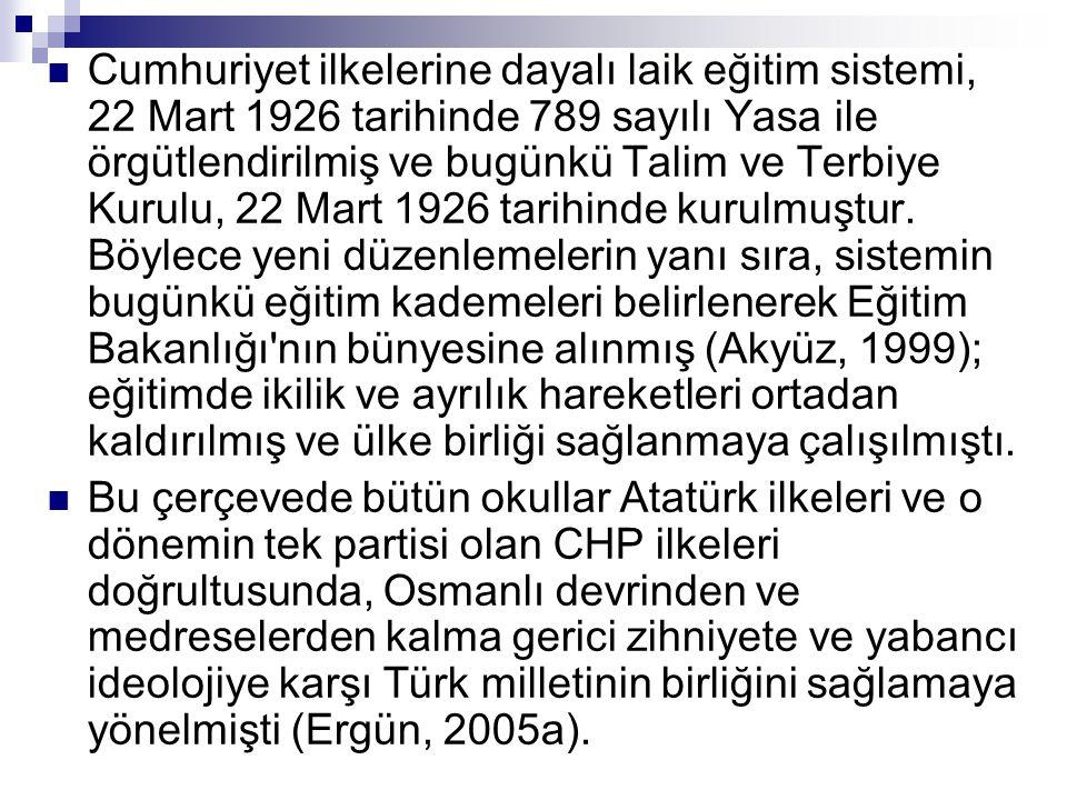  Cumhuriyet ilkelerine dayalı laik eğitim sistemi, 22 Mart 1926 tarihinde 789 sayılı Yasa ile örgütlendirilmiş ve bugünkü Talim ve Terbiye Kurulu, 22