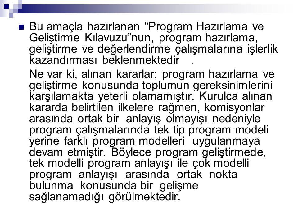""" Bu amaçla hazırlanan """"Program Hazırlama ve Geliştirme Kılavuzu""""nun, program hazırlama, geliştirme ve değerlendirme çalışmalarına işlerlik kazandırma"""