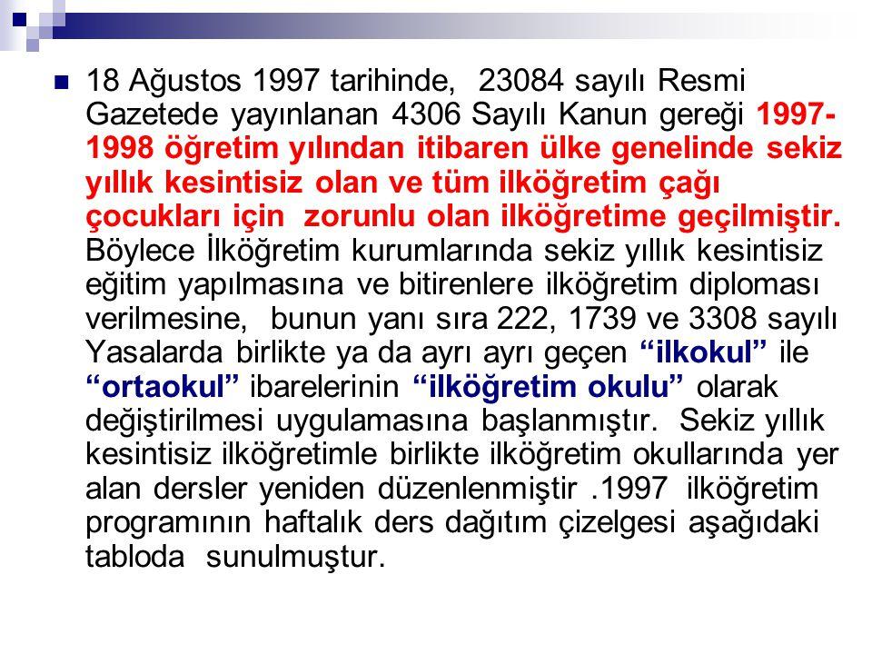  18 Ağustos 1997 tarihinde, 23084 sayılı Resmi Gazetede yayınlanan 4306 Sayılı Kanun gereği 1997- 1998 öğretim yılından itibaren ülke genelinde sekiz