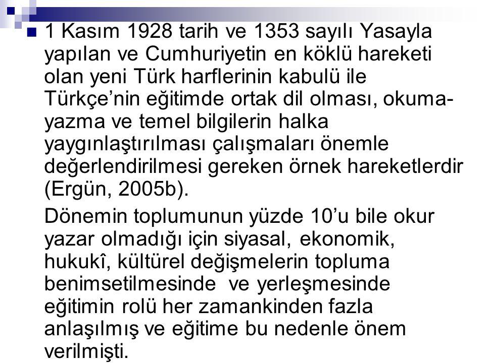  1 Kasım 1928 tarih ve 1353 sayılı Yasayla yapılan ve Cumhuriyetin en köklü hareketi olan yeni Türk harflerinin kabulü ile Türkçe'nin eğitimde ortak