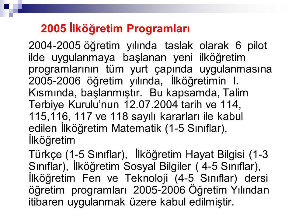 2004-2005 öğretim yılında taslak olarak 6 pilot ilde uygulanmaya başlanan yeni ilköğretim programlarının tüm yurt çapında uygulanmasına 2005-2006 öğre