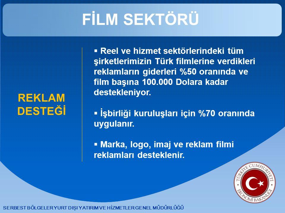 SERBEST BÖLGELER YURT DIŞI YATIRIM VE HİZMETLER GENEL MÜDÜRLÜĞÜ FİLM SEKTÖRÜ REKLAM DESTEĞİ  Reel ve hizmet sektörlerindeki tüm şirketlerimizin Türk filmlerine verdikleri reklamların giderleri %50 oranında ve film başına 100.000 Dolara kadar destekleniyor.