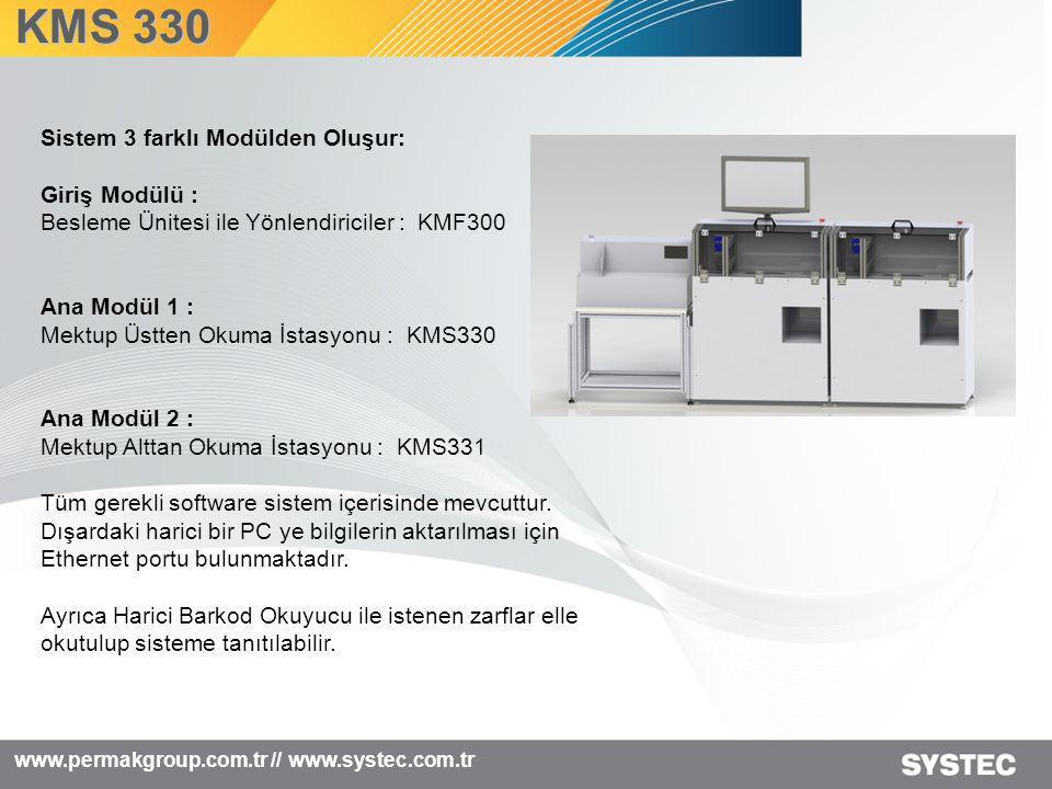 KMS 330 www.permakgroup.com.tr // www.systec.com.tr Sistem 3 farklı Modülden Oluşur: Giriş Modülü : Besleme Ünitesi ile Yönlendiriciler : KMF300 Ana M