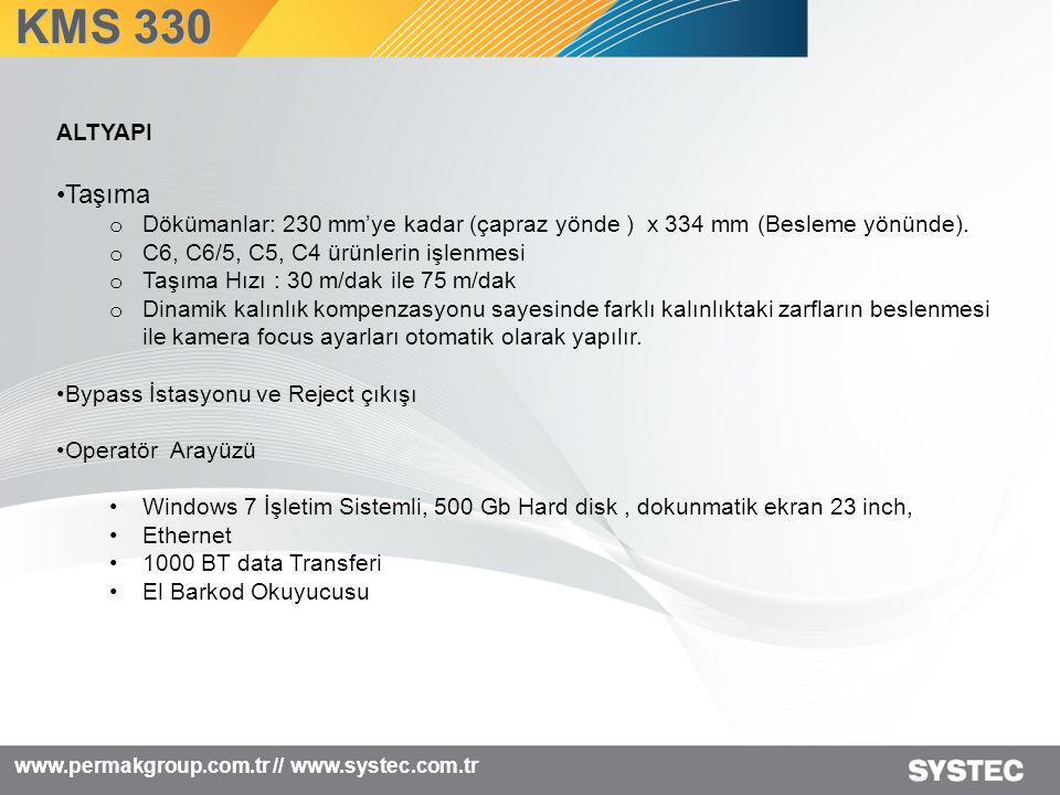 www.permakgroup.com.tr // www.systec.com.tr KMS 330 ALTYAPI •Taşıma o Dökümanlar: 230 mm'ye kadar (çapraz yönde ) x 334 mm (Besleme yönünde). o C6, C6