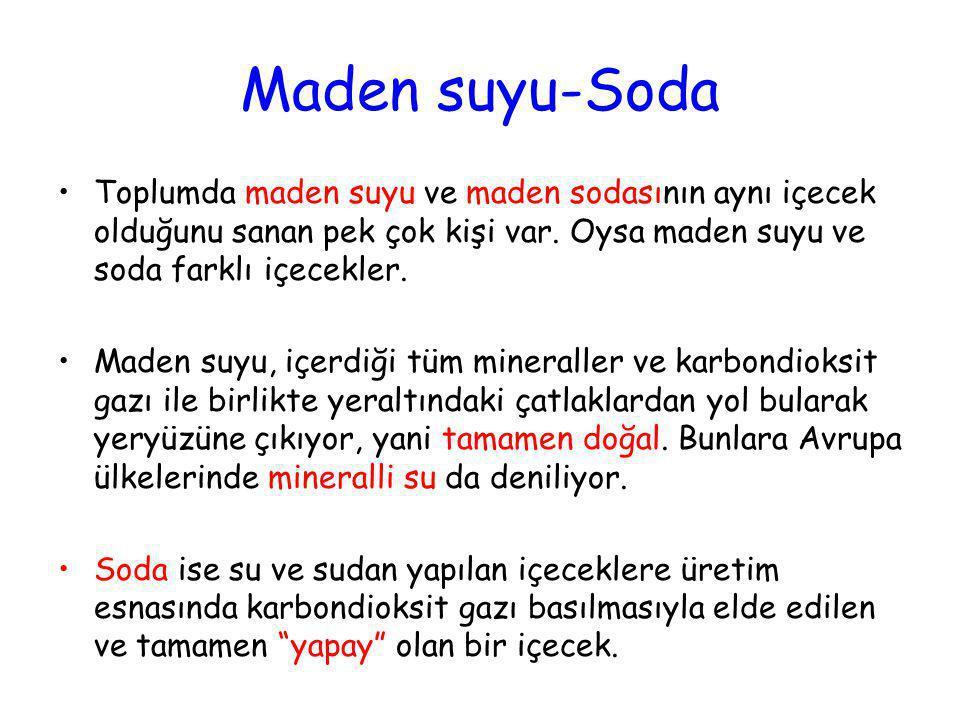 Maden suyu-Soda •Toplumda maden suyu ve maden sodasının aynı içecek olduğunu sanan pek çok kişi var. Oysa maden suyu ve soda farklı içecekler. •Maden