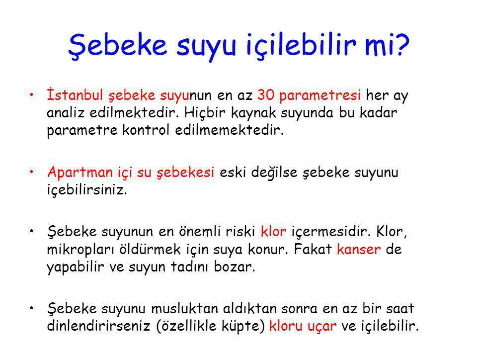 Şebeke suyu içilebilir mi? •İstanbul şebeke suyunun en az 30 parametresi her ay analiz edilmektedir. Hiçbir kaynak suyunda bu kadar parametre kontrol