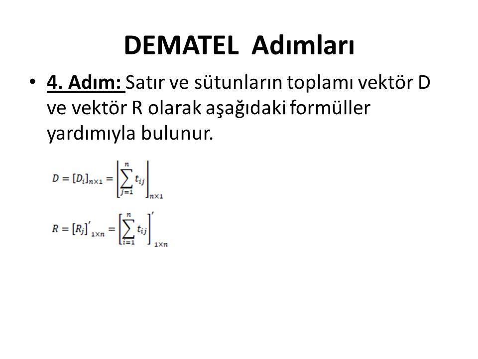 DEMATEL Adımları • 4. Adım: Satır ve sütunların toplamı vektör D ve vektör R olarak aşağıdaki formüller yardımıyla bulunur.