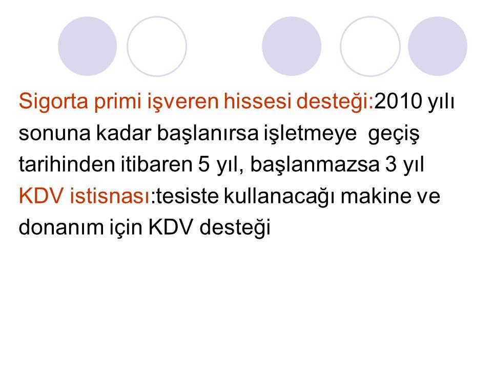 Sigorta primi işveren hissesi desteği:2010 yılı sonuna kadar başlanırsa işletmeye geçiş tarihinden itibaren 5 yıl, başlanmazsa 3 yıl KDV istisnası:tesiste kullanacağı makine ve donanım için KDV desteği