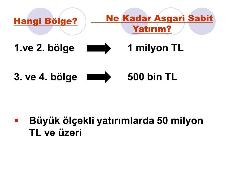 Hangi Bölge? 1.ve 2. bölge1 milyon TL 3. ve 4. bölge500 bin TL  Büyük ölçekli yatırımlarda 50 milyon TL ve üzeri Ne Kadar Asgari Sabit Yatırım?