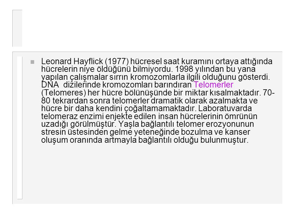 n Leonard Hayflick (1977) hücresel saat kuramını ortaya attığında hücrelerin niye öldüğünü bilmiyordu. 1998 yılından bu yana yapılan çalışmalar sırrın