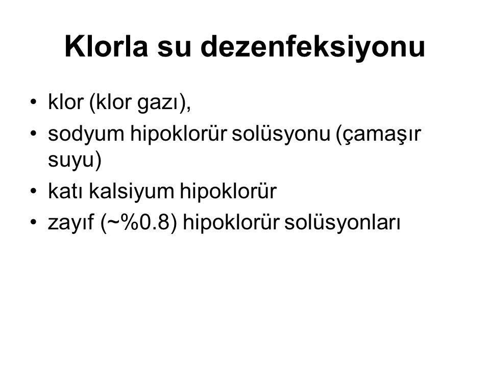 Klorla su dezenfeksiyonu •klor (klor gazı), •sodyum hipoklorür solüsyonu (çamaşır suyu) •katı kalsiyum hipoklorür •zayıf (~%0.8) hipoklorür solüsyonları