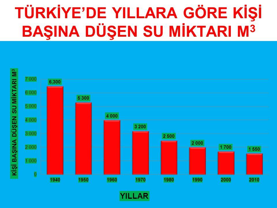 TÜRKİYE'DE YILLARA GÖRE KİŞİ BAŞINA DÜŞEN SU MİKTARI M 3