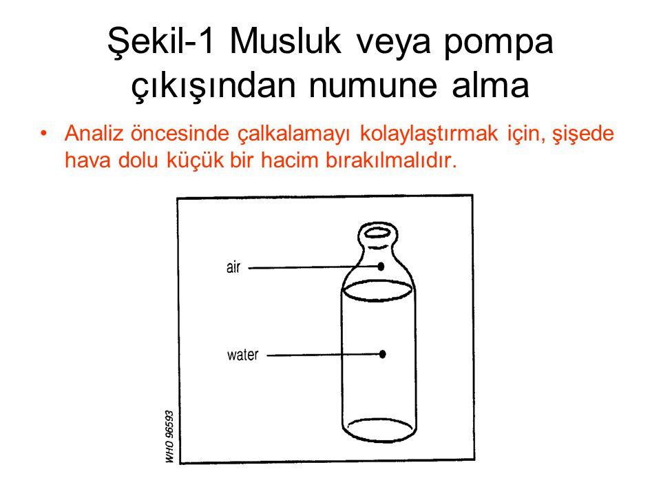 Şekil-1 Musluk veya pompa çıkışından numune alma •Analiz öncesinde çalkalamayı kolaylaştırmak için, şişede hava dolu küçük bir hacim bırakılmalıdır.