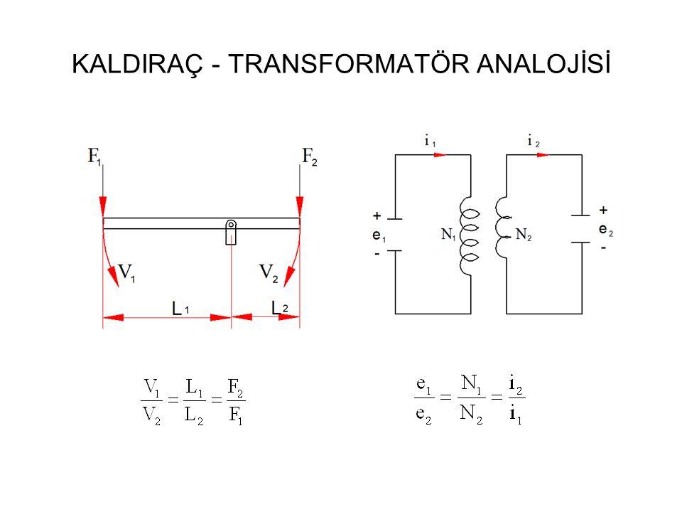 KALDIRAÇ - TRANSFORMATÖR ANALOJİSİ