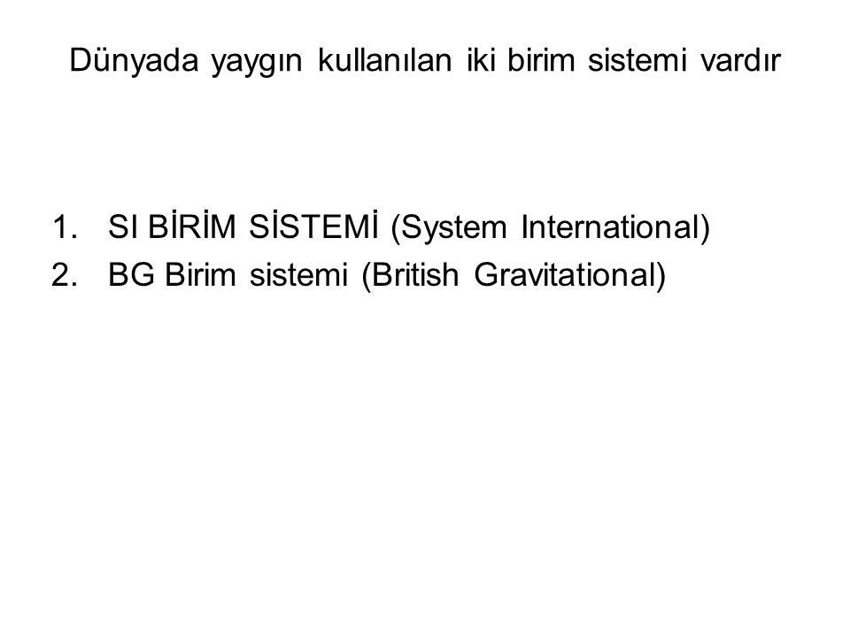 Dünyada yaygın kullanılan iki birim sistemi vardır 1.SI BİRİM SİSTEMİ (System International) 2.BG Birim sistemi (British Gravitational)