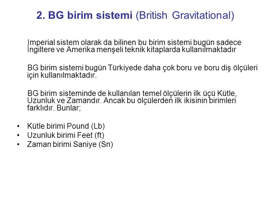 2. BG birim sistemi (British Gravitational) Imperial sistem olarak da bilinen bu birim sistemi bugün sadece İngiltere ve Amerika menşeli teknik kitapl