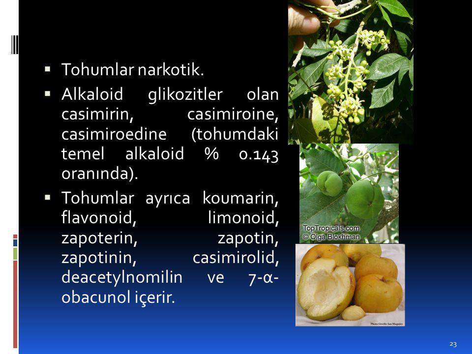 Tohumlar narkotik.  Alkaloid glikozitler olan casimirin, casimiroine, casimiroedine (tohumdaki temel alkaloid % 0.143 oranında).  Tohumlar ayrıca