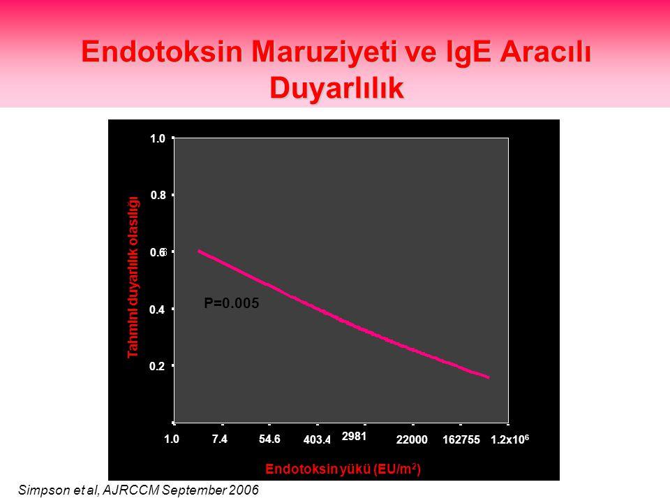 Endotoksin Maruziyeti ve IgE Aracılı Duyarlılık 7.454.6 403.4 2981 22000 1.2x10 6 162755 0.0 1.0 0.2 0.4 0.6 0.8 1.0 Tahmini duyarlılık olasılığı Endotoksin yükü (EU/m 2 ) Simpson et al, AJRCCM September 2006 P=0.005