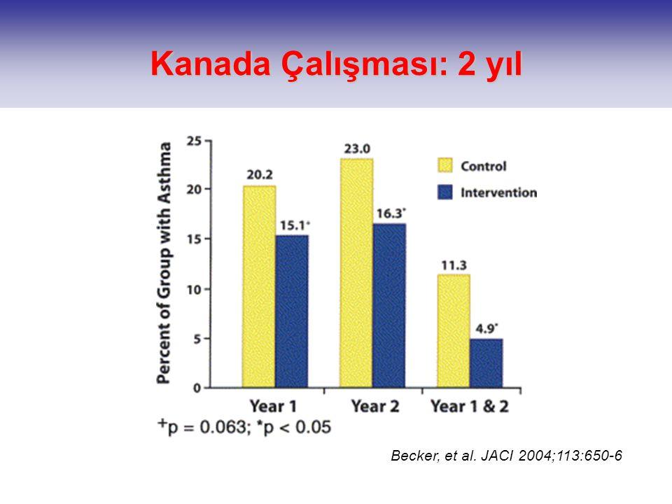 Becker, et al. JACI 2004;113:650-6 Kanada Çalışması: 2 yıl