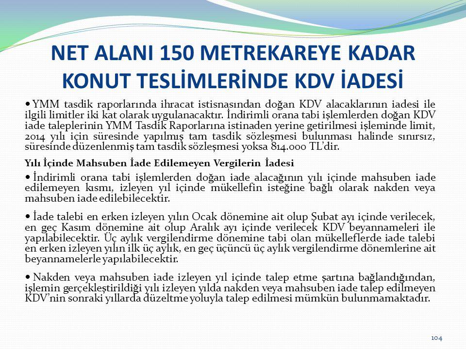 104 NET ALANI 150 METREKAREYE KADAR KONUT TESLİMLERİNDE KDV İADESİ  YMM tasdik raporlarında ihracat istisnasından doğan KDV alacaklarının iadesi ile ilgili limitler iki kat olarak uygulanacaktır.