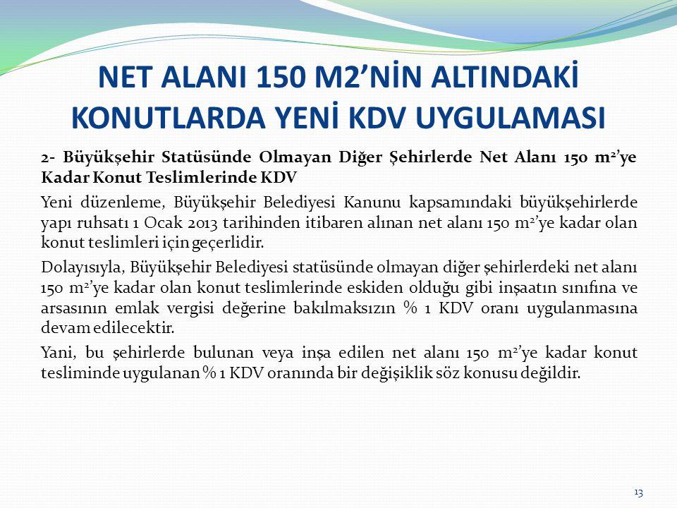 NET ALANI 150 M2'NİN ALTINDAKİ KONUTLARDA YENİ KDV UYGULAMASI 2- Büyükşehir Statüsünde Olmayan Diğer Şehirlerde Net Alanı 150 m 2 'ye Kadar Konut Teslimlerinde KDV Yeni düzenleme, Büyükşehir Belediyesi Kanunu kapsamındaki büyükşehirlerde yapı ruhsatı 1 Ocak 2013 tarihinden itibaren alınan net alanı 150 m 2 'ye kadar olan konut teslimleri için geçerlidir.