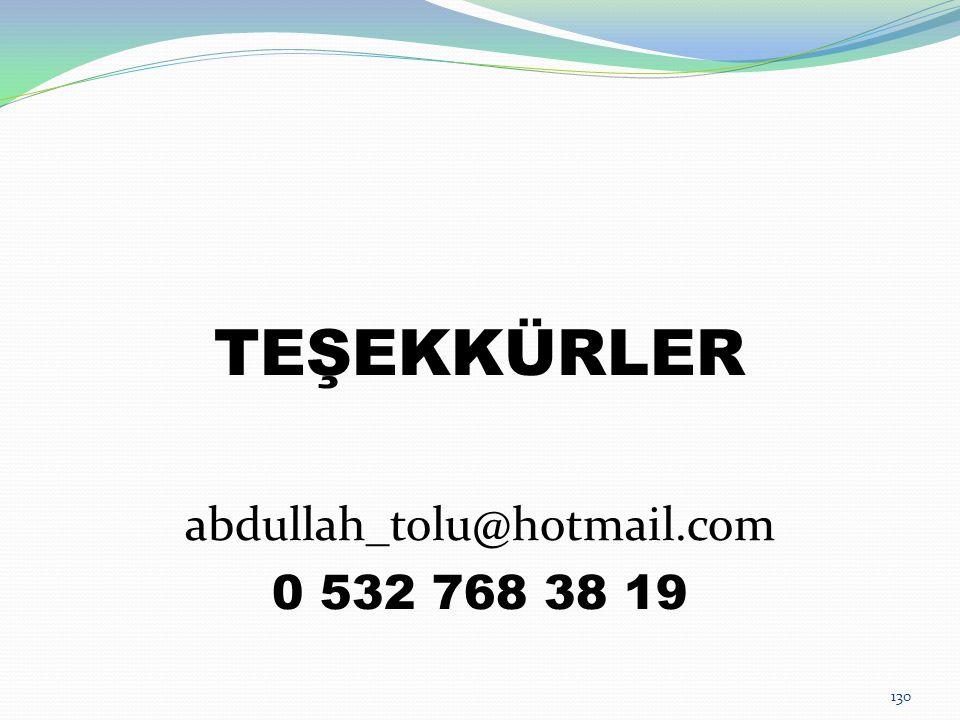 130 TEŞEKKÜRLER abdullah_tolu@hotmail.com 0 532 768 38 19