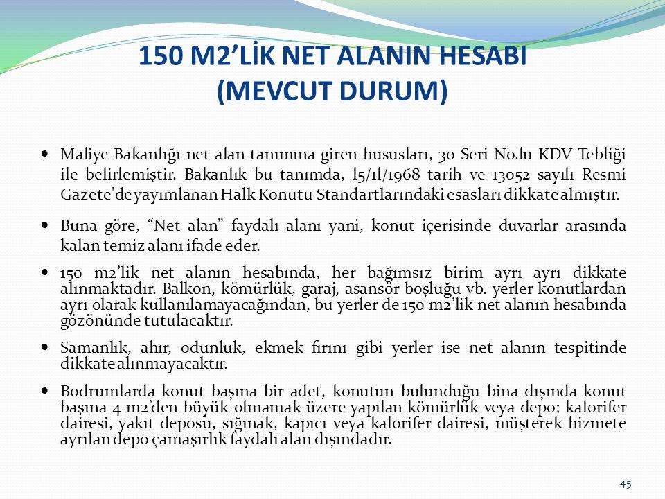 45 150 M2'LİK NET ALANIN HESABI (MEVCUT DURUM)  Maliye Bakanlığı net alan tanımına giren hususları, 30 Seri No.lu KDV Tebliği ile belirlemiştir.