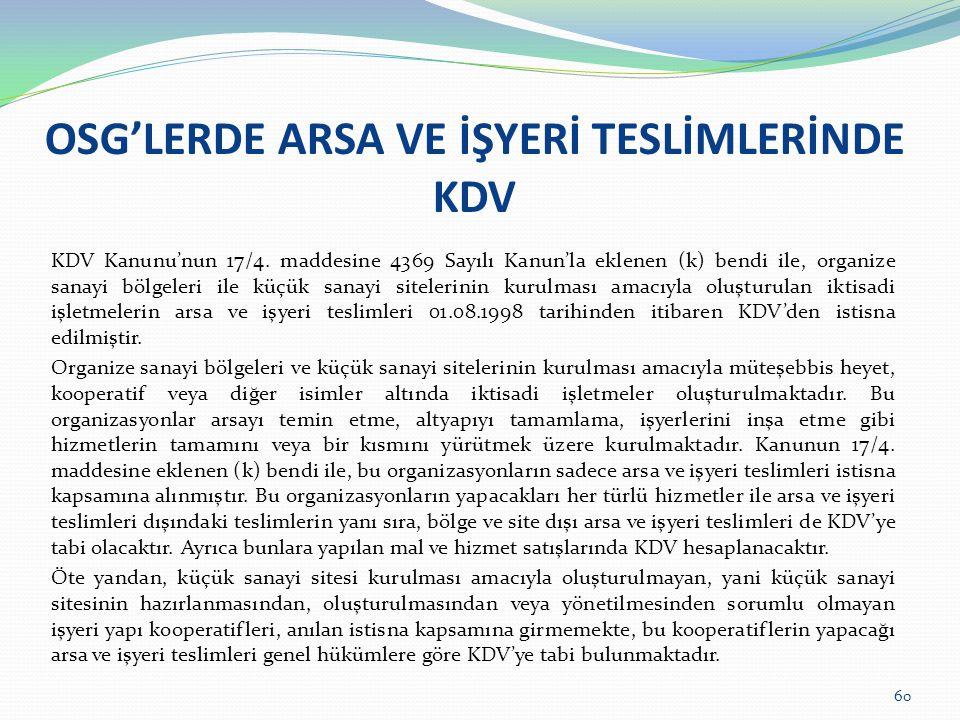 OSG'LERDE ARSA VE İŞYERİ TESLİMLERİNDE KDV KDV Kanunu'nun 17/4.