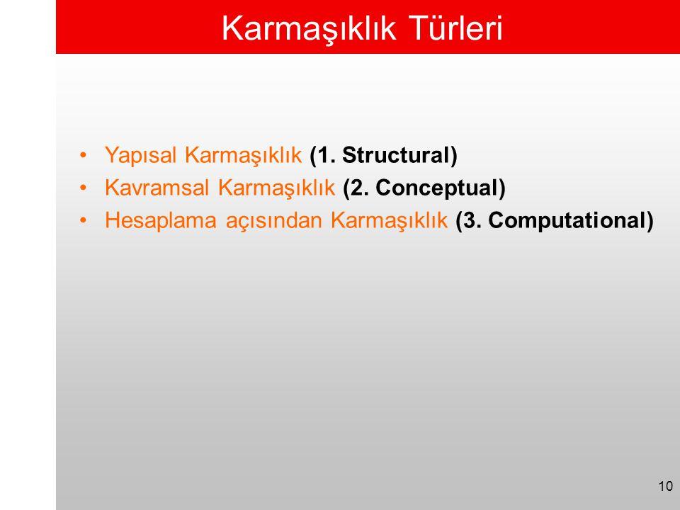 10 Karmaşıklık Türleri •Yapısal Karmaşıklık (1. Structural) •Kavramsal Karmaşıklık (2. Conceptual) •Hesaplama açısından Karmaşıklık (3. Computational)