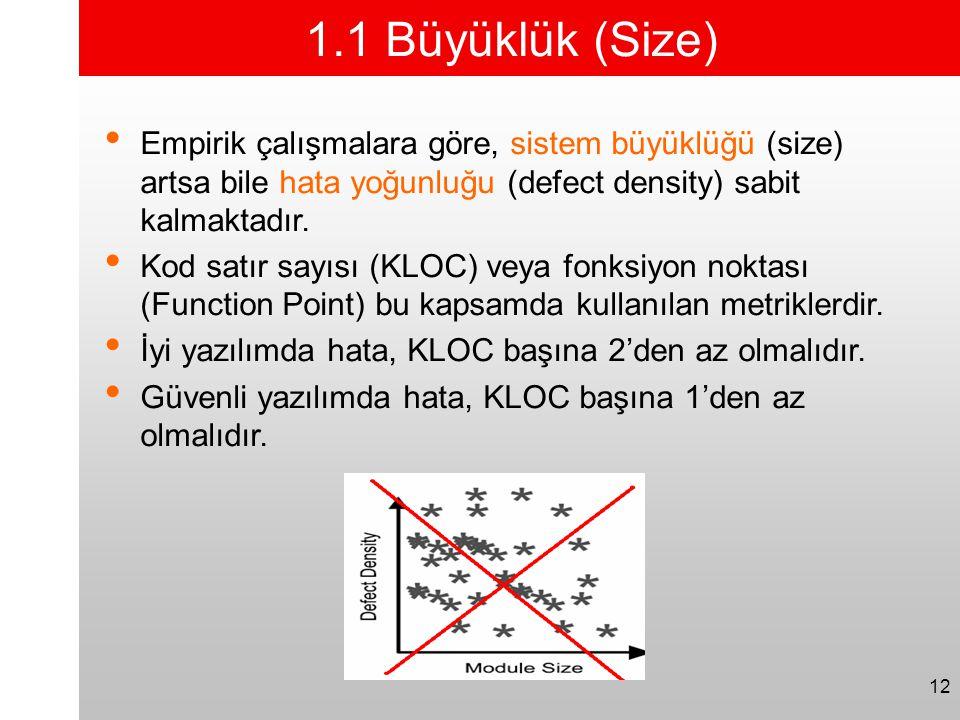 12 1.1 Büyüklük (Size) • Empirik çalışmalara göre, sistem büyüklüğü (size) artsa bile hata yoğunluğu (defect density) sabit kalmaktadır. • Kod satır s
