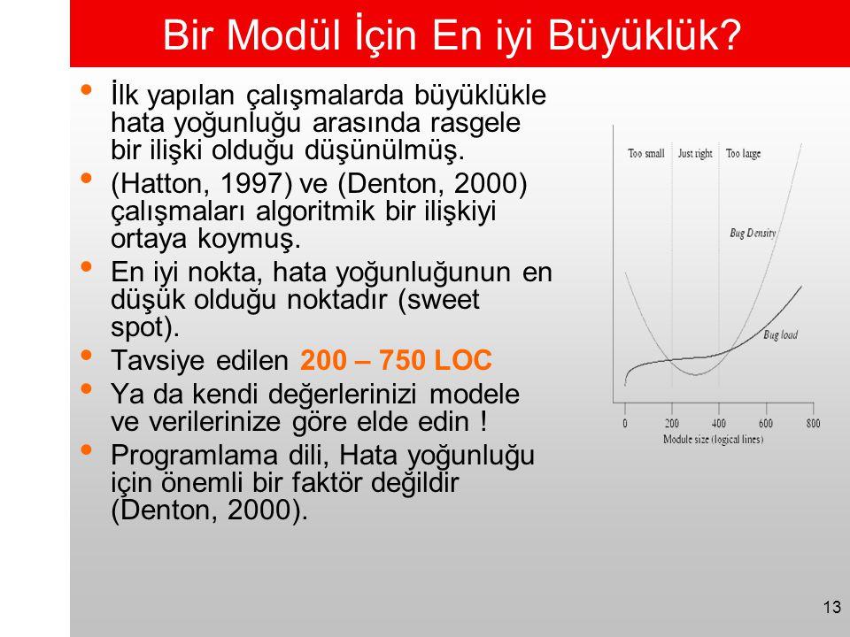 13 Bir Modül İçin En iyi Büyüklük? • İlk yapılan çalışmalarda büyüklükle hata yoğunluğu arasında rasgele bir ilişki olduğu düşünülmüş. • (Hatton, 1997